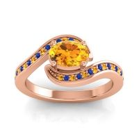 Bypass Oval Pave Phala Citrine Ring with Blue Sapphire in 18K Rose Gold