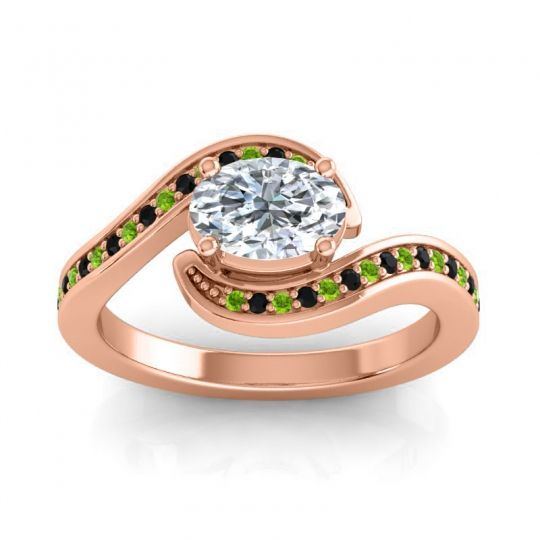 Bypass Oval Pave Phala Diamond Ring with Black Onyx and Peridot in 18K Rose Gold