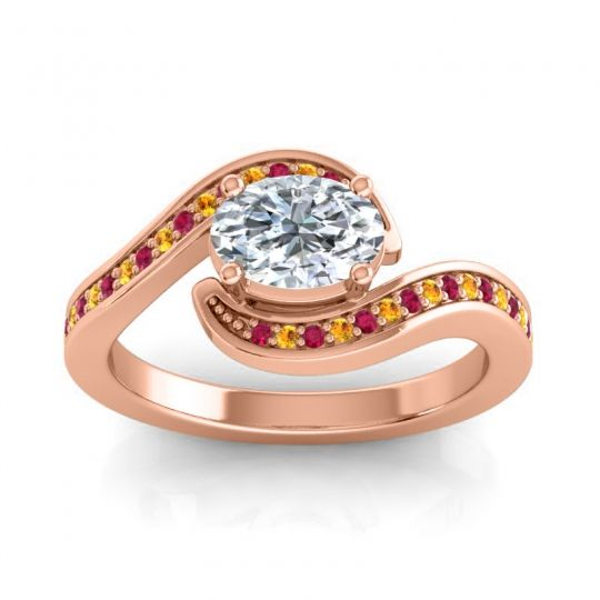 Bypass Oval Pave Phala Diamond Ring with Citrine and Ruby in 18K Rose Gold