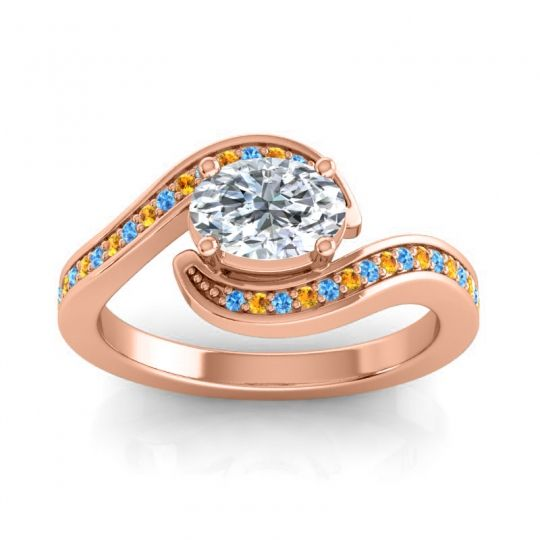 Bypass Oval Pave Phala Diamond Ring with Citrine and Swiss Blue Topaz in 18K Rose Gold