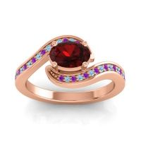 Bypass Oval Pave Phala Garnet Ring with Aquamarine and Amethyst in 14K Rose Gold