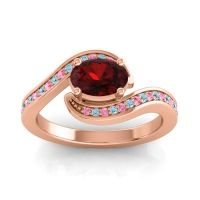 Bypass Oval Pave Phala Garnet Ring with Aquamarine and Pink Tourmaline in 18K Rose Gold