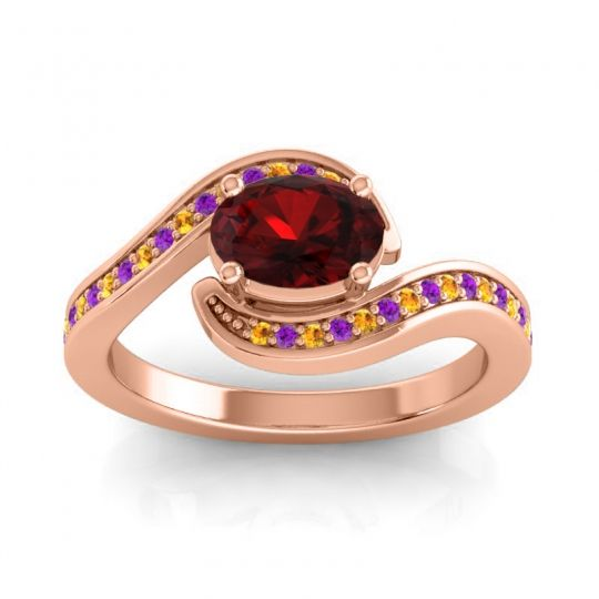Bypass Oval Pave Phala Garnet Ring with Amethyst and Citrine in 18K Rose Gold