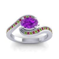Bypass Oval Pave Phala Amethyst Ring with Ruby and Peridot in 14k White Gold