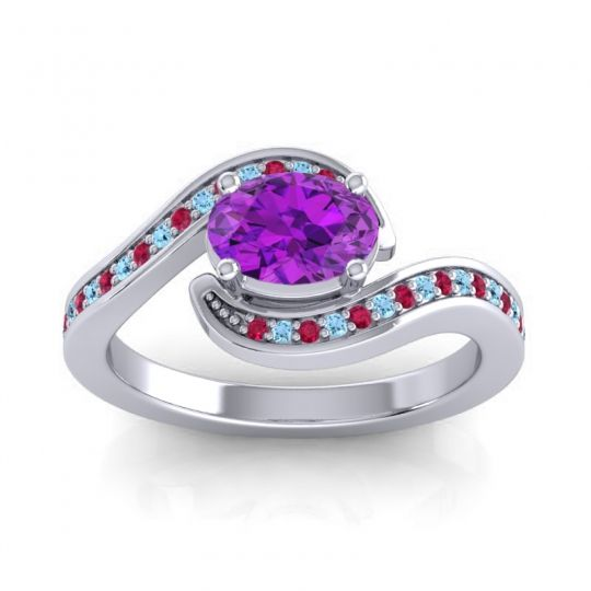 Bypass Oval Pave Phala Amethyst Ring with Aquamarine and Ruby in 14k White Gold