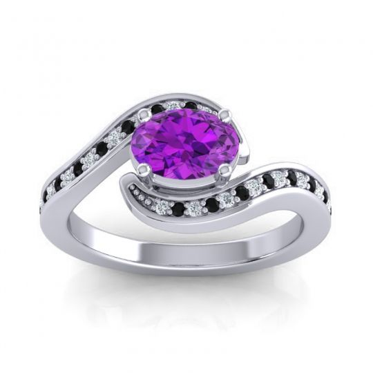 Bypass Oval Pave Phala Amethyst Ring with Black Onyx and Diamond in 14k White Gold