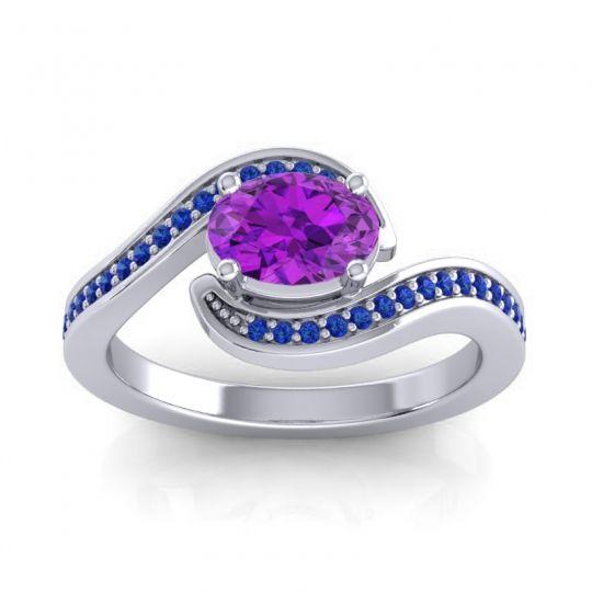 Bypass Oval Pave Phala Amethyst Ring with Blue Sapphire in 14k White Gold