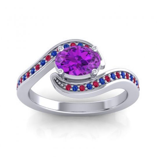Bypass Oval Pave Phala Amethyst Ring with Blue Sapphire and Ruby in 18k White Gold
