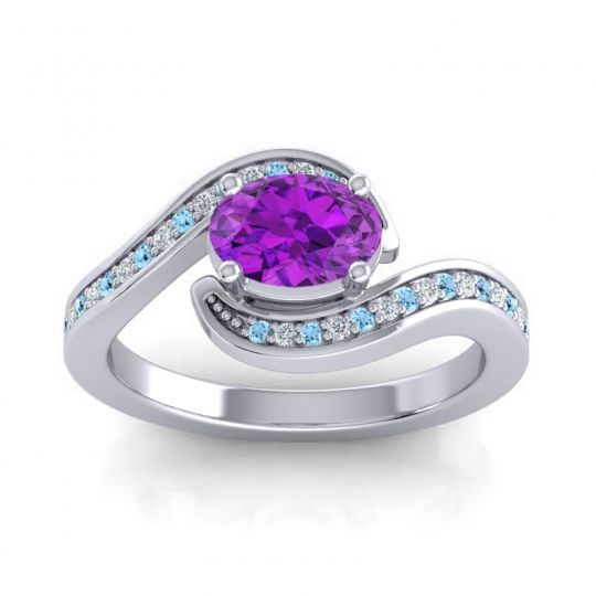 Bypass Oval Pave Phala Amethyst Ring with Diamond and Aquamarine in 18k White Gold