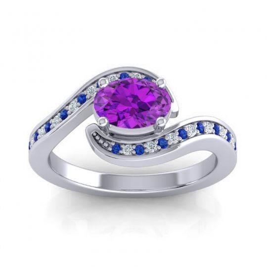 Bypass Oval Pave Phala Amethyst Ring with Diamond and Blue Sapphire in 18k White Gold