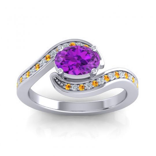 Bypass Oval Pave Phala Amethyst Ring with Diamond and Citrine in Palladium