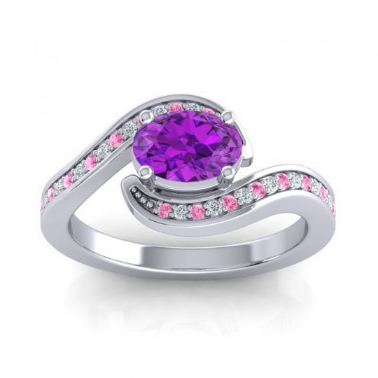 Bypass Oval Pave Phala Amethyst Ring with Diamond and Pink Tourmaline in 14k White Gold