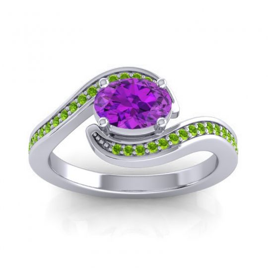 Bypass Oval Pave Phala Amethyst Ring with Peridot in 14k White Gold