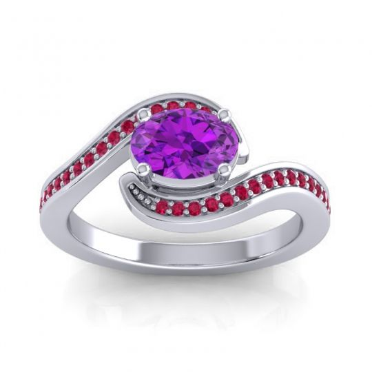 Bypass Oval Pave Phala Amethyst Ring with Ruby in 18k White Gold