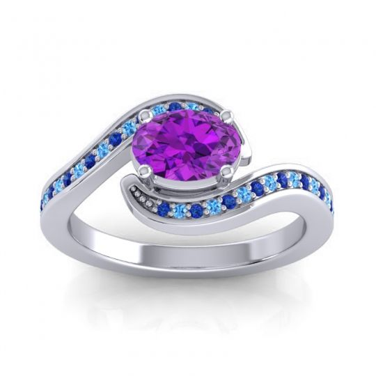 Bypass Oval Pave Phala Amethyst Ring with Swiss Blue Topaz and Blue Sapphire in 18k White Gold