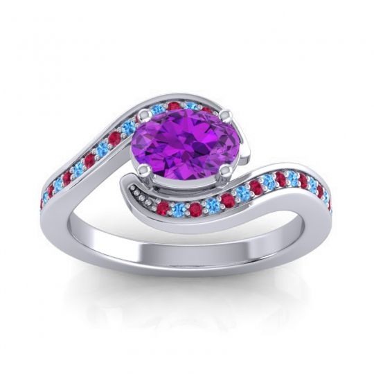 Bypass Oval Pave Phala Amethyst Ring with Swiss Blue Topaz and Ruby in Palladium