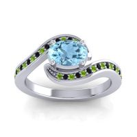 Bypass Oval Pave Phala Aquamarine Ring with Black Onyx and Peridot in 14k White Gold