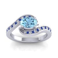 Bypass Oval Pave Phala Aquamarine Ring with Blue Sapphire and Diamond in Platinum