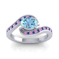Bypass Oval Pave Phala Aquamarine Ring with Blue Sapphire and Pink Tourmaline in Palladium