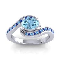 Bypass Oval Pave Phala Aquamarine Ring with Blue Sapphire and Swiss Blue Topaz in 14k White Gold