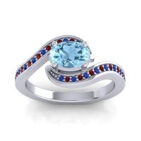 Bypass Oval Pave Phala Aquamarine Ring with Garnet and Blue Sapphire in 14k White Gold