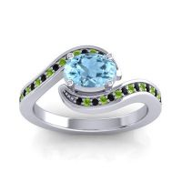 Bypass Oval Pave Phala Aquamarine Ring with Peridot and Black Onyx in 14k White Gold