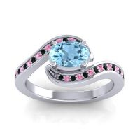 Bypass Oval Pave Phala Aquamarine Ring with Pink Tourmaline and Black Onyx in Platinum