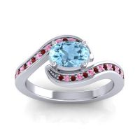 Bypass Oval Pave Phala Aquamarine Ring with Pink Tourmaline and Garnet in 14k White Gold