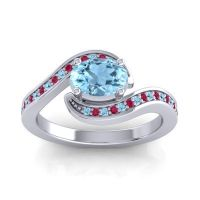 Bypass Oval Pave Phala Aquamarine Ring with Ruby in Palladium