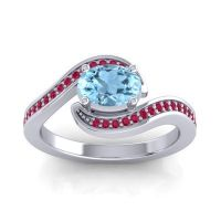 Bypass Oval Pave Phala Aquamarine Ring with Ruby in 18k White Gold