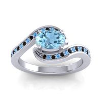 Bypass Oval Pave Phala Aquamarine Ring with Swiss Blue Topaz and Black Onyx in 14k White Gold