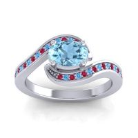 Bypass Oval Pave Phala Aquamarine Ring with Swiss Blue Topaz and Ruby in 14k White Gold