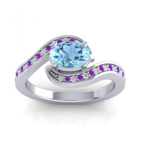 Bypass Oval Pave Phala Aquamarine Ring with Amethyst and Diamond in Platinum