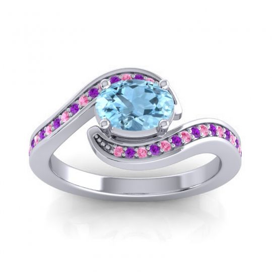 Bypass Oval Pave Phala Aquamarine Ring with Amethyst and Pink Tourmaline in 18k White Gold