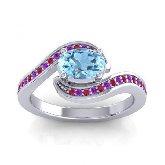 Bypass Oval Pave Phala Aquamarine Ring with Amethyst and Ruby in Palladium