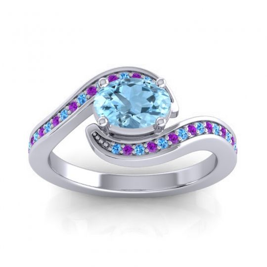 Bypass Oval Pave Phala Aquamarine Ring with Amethyst and Swiss Blue Topaz in Palladium