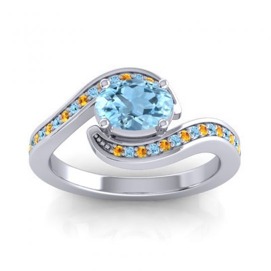 Bypass Oval Pave Phala Aquamarine Ring with Citrine in 14k White Gold