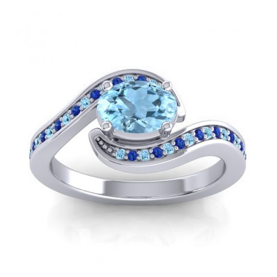 Bypass Oval Pave Phala Aquamarine Ring with Blue Sapphire in 18k White Gold