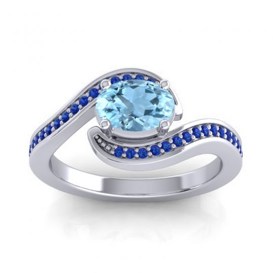 Bypass Oval Pave Phala Aquamarine Ring with Blue Sapphire in 14k White Gold