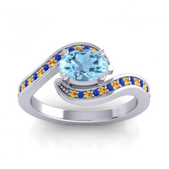 Bypass Oval Pave Phala Aquamarine Ring with Blue Sapphire and Citrine in 18k White Gold