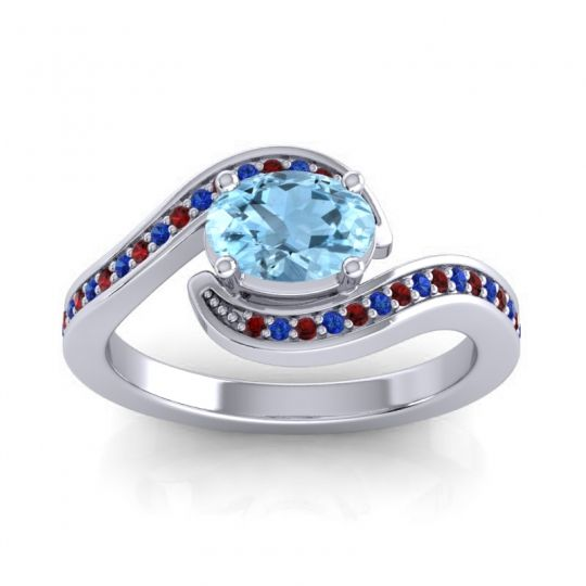 Bypass Oval Pave Phala Aquamarine Ring with Blue Sapphire and Garnet in 18k White Gold