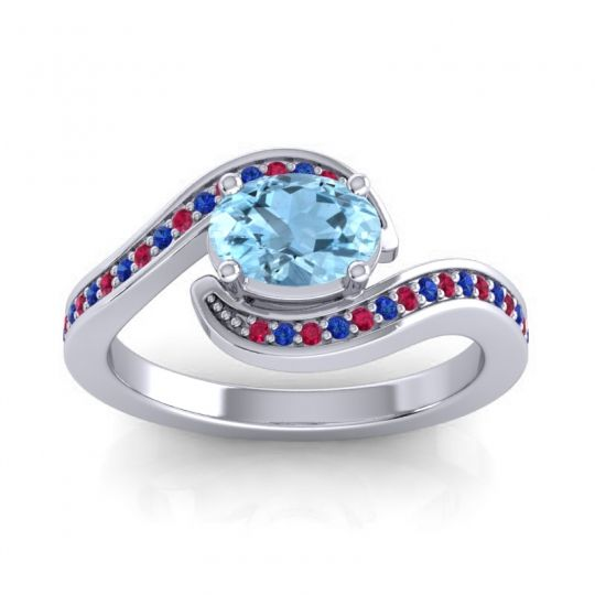 Bypass Oval Pave Phala Aquamarine Ring with Blue Sapphire and Ruby in Platinum
