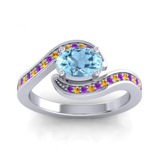 Bypass Oval Pave Phala Aquamarine Ring with Citrine and Amethyst in Palladium