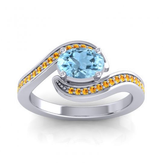 Bypass Oval Pave Phala Aquamarine Ring with Citrine in 18k White Gold