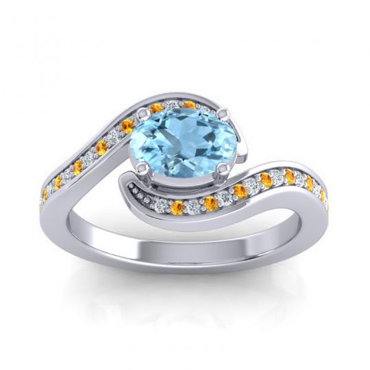 Bypass Oval Pave Phala Aquamarine Ring with Citrine and Diamond in Platinum