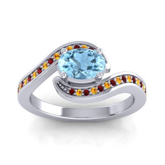 Bypass Oval Pave Phala Aquamarine Ring with Citrine and Garnet in 14k White Gold