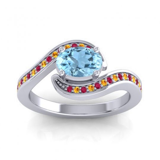 Bypass Oval Pave Phala Aquamarine Ring with Citrine and Ruby in 14k White Gold