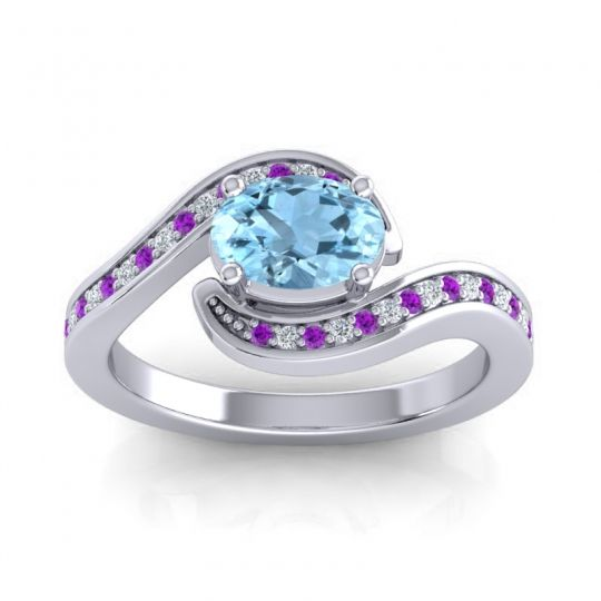 Bypass Oval Pave Phala Aquamarine Ring with Diamond and Amethyst in 14k White Gold