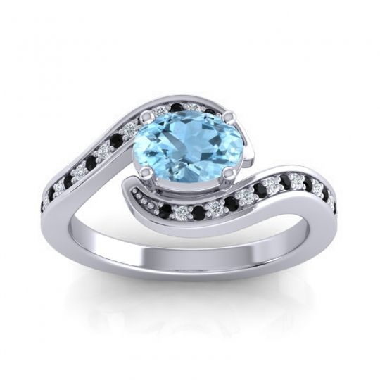 Bypass Oval Pave Phala Aquamarine Ring with Diamond and Black Onyx in Palladium