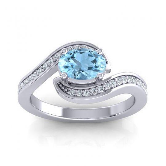 Bypass Oval Pave Phala Aquamarine Ring with Diamond in Palladium